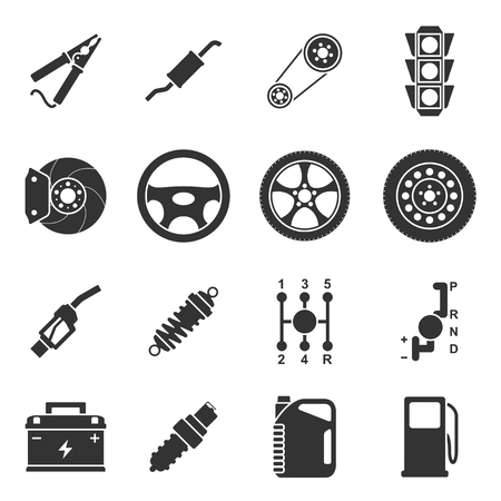 disk break: set of black and white silhouette icons of car parts