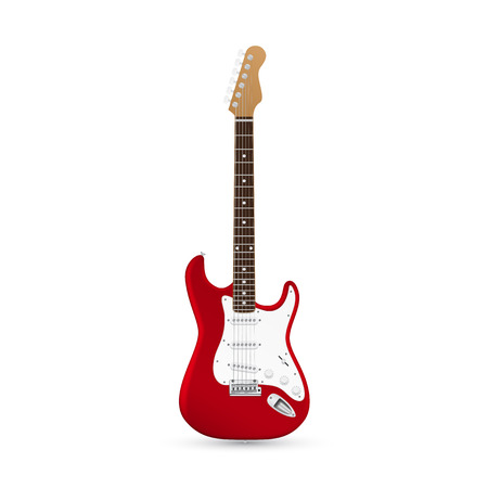 picture of electric guitar isolated on white background Illustration