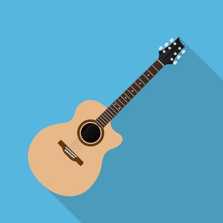 guitarra acustica: la imagen de la guitarra acústica, la ilustración de estilo plano Vectores