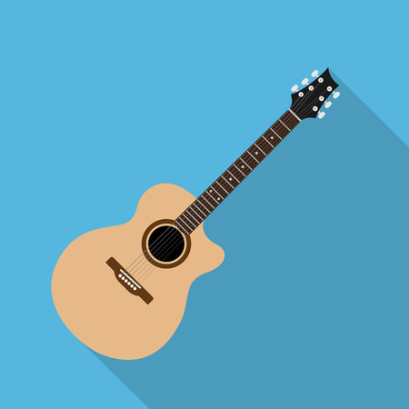 picture of acoustic guitar, flat style illustration