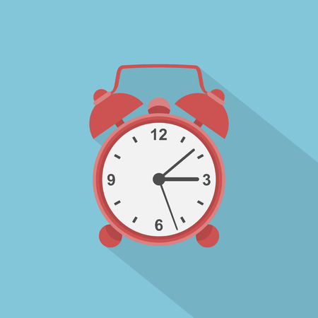 picture of red alarm clock, flat style illustration icon