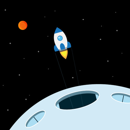 space station: picture of rocket starting from space station, flat style illustration, new bussiness, servise or startup concept