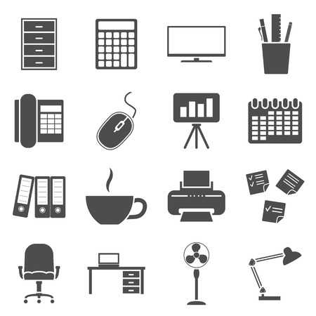 set of black and white silhouette icons on office theme Vector