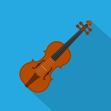 picture of a violin on blue background, flat style illustration Illustration