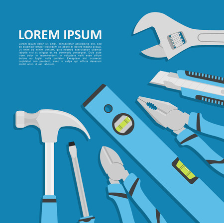 Abstract template with tools on blue background, flat style illustration
