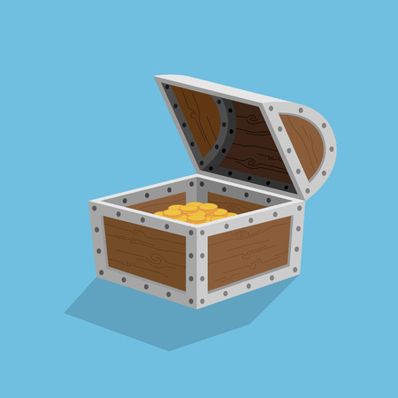 picture of a chest filled with golden coins, flat style illustration Illustration