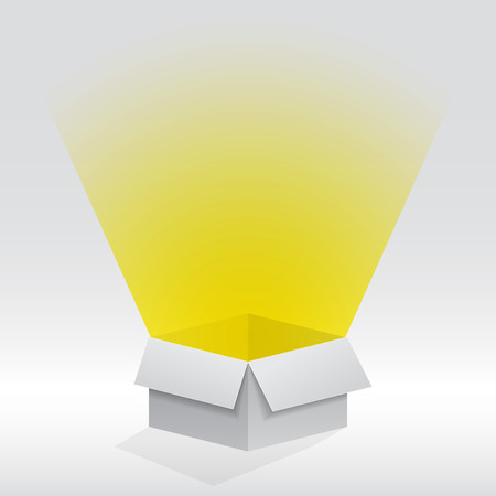 picture of a paper box with light coming from within it Иллюстрация