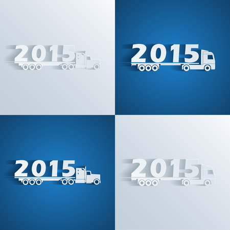 set of silhouette icons of trucks with 2015 number, new year concept Vector