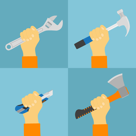 hand wrench: set of flat style illustrations of human hand holding tools