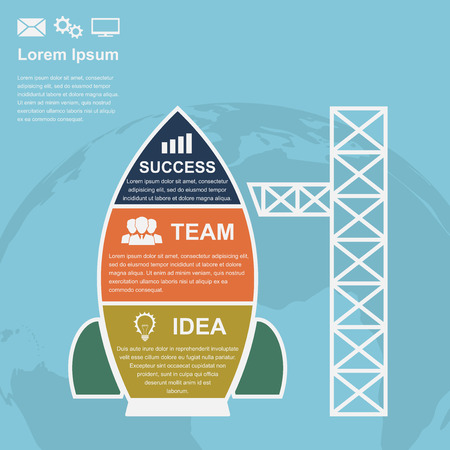 infographic template with rocket with icons and earth silhouette on background Ilustração