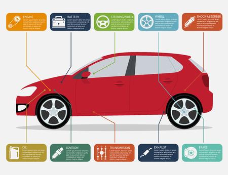 repuestos de carros: plantilla infografía con los iconos de piezas de automóviles y motos, servicio y concepto de reparación
