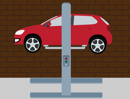 automobile mechanic: picture of a car on the lift in service box, flat style illustration