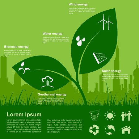 infographic template with sprout, icons of renewable energy, ecology concept