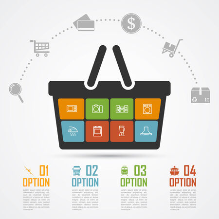 online advertising: infographic template with basket and icons, e-commerce, online shopping, shipping, delivery concept
