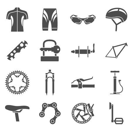 bicicleta: conjunto de iconos de la silueta en blanco y negro de piezas de bicicleta piezas