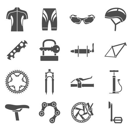 pedals: set of black and white silhouette icons of bicycle spare parts Illustration