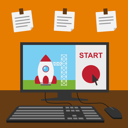 picture of computer with rocket on monitor, star-up, new business, product, service concept Vector