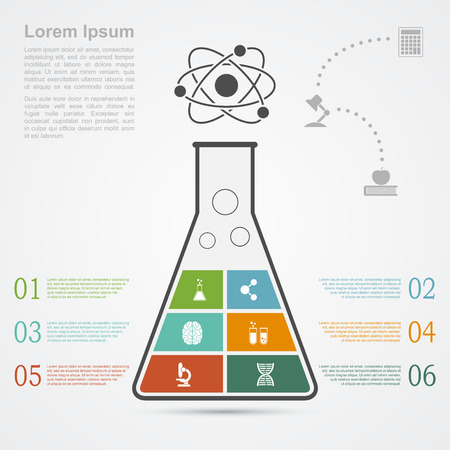 infographic template with flask silhouette and icons, science, research, development concept Illustration