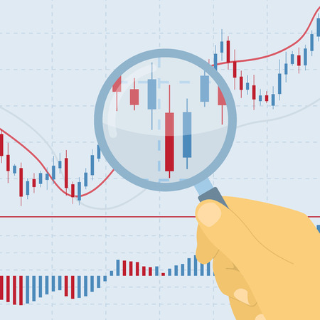 picture of human hand holding magnifying glass on forex chart Stock Illustratie