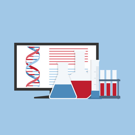 monitor with DNA structure and flasks, tubes in front of it, science, laboratory, biotechnology concept Vector
