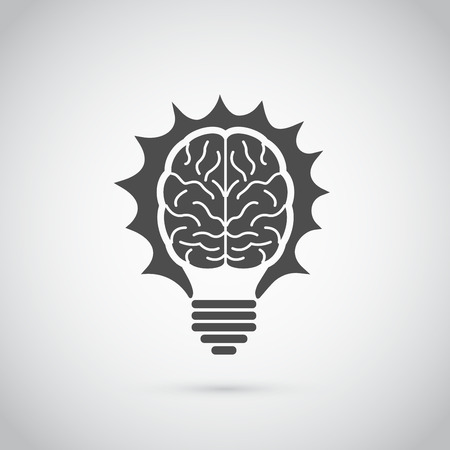 Picture of light bulb in form of human brain, idea, creativity, innovation concept Çizim