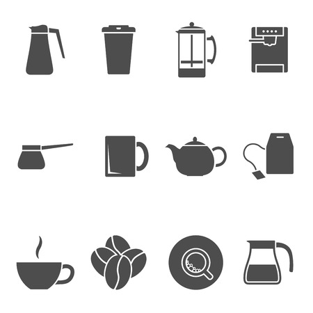 set of black and white silhouette icons on coffe and tea theme