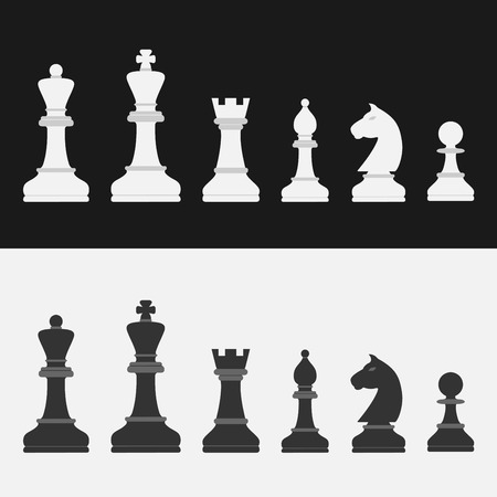 chess set: set of flat style chess figures