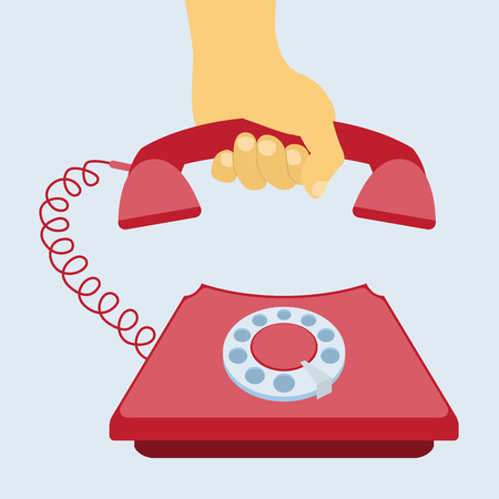 answering phone: human hand taking telephone receiver, flat style illustration