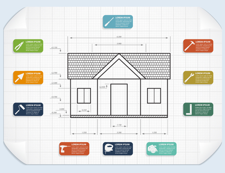 infographic template with house project and tools icons Vector