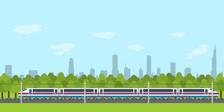 tren caricatura: imagen del tren de ferrocarril con el bosque y la ciudad silueta en el fondo, infografía estilo plano