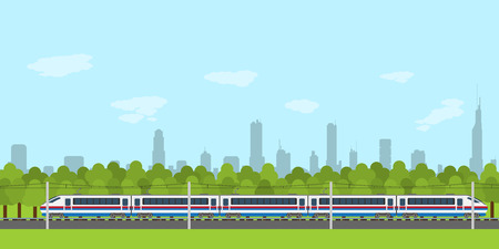 electric train: picture of train on railway with forest and city silhouette on background, flat style infographic