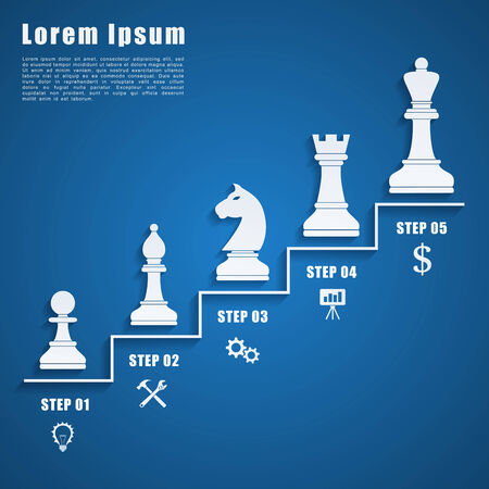 infographic template with chess figures and icons, business strategy, planning concept Vector