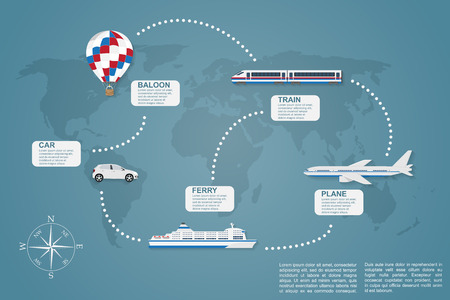 infographic template on traveling theme with world map on background ans icons of car, train, plain, ferry boat and hot air baloon Illustration