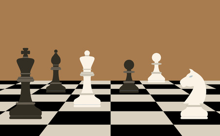 it business: picture of chessboard and chess figures on it, business strategy concept Illustration