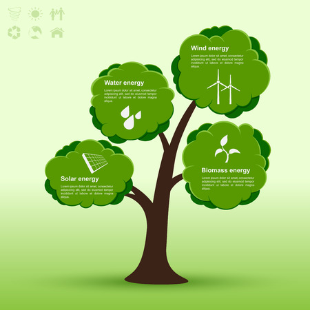 alternative energy sources: infographic template with tree and icons of alternative energy sources, ecology, alternative energy concept