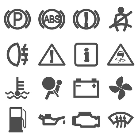 Set of black and white silhouette icons for car dash