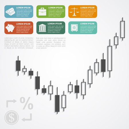 fonds: infographic template with candlestick graph and icons, forex, investment, money, business concept Illustration