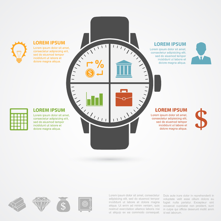 information management: infographic template with hand clock silhouette and icons, timemoney concept Illustration