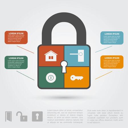 infographic sjabloon met slot silhouet en iconen, binnenlandse veiligheids concept