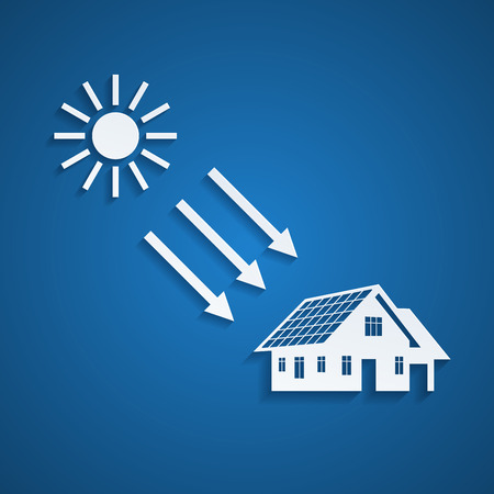 picture of a house silhouette with solar panels on the roof and the sun, alternative energy concept 일러스트