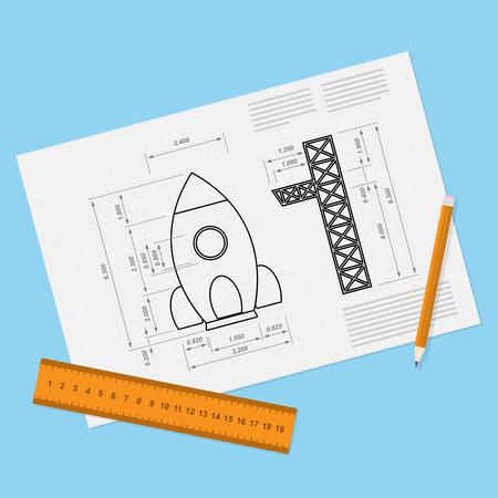 로켓 초안, 연필과 ruller 종이 시트의 사진, 스타트 업, 새로운 servise, 비즈니스 또는 제품 컨셉을