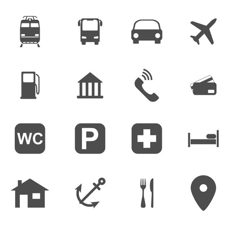 set of black and white silhouette icons, traveling, maps, gps concept Vector