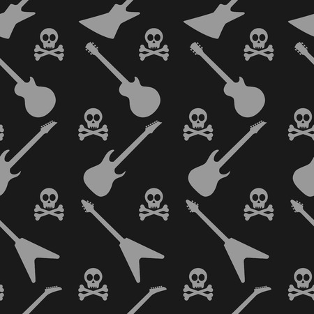 electric guitars: abstract seamless pattern with electric guitar silhouettes and skulls