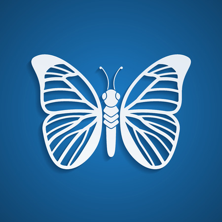 buterfly: picture of buterfly silhouette on blue background Illustration