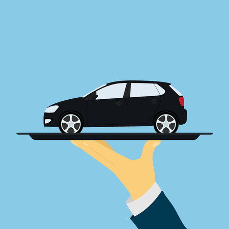 car sales: picture of human hand holding tray with car, flat style illustration