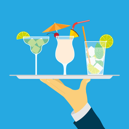 waiter tray: picture of human hand holding tray with cocktails, flat style illustration Illustration