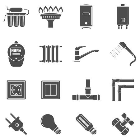 enchufe de luz: conjunto de iconos de la silueta en blanco y negro de las Comunicaciones Principal líneas de suministro Vectores