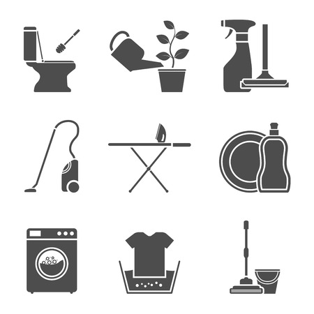 toilet brush: set of black and white silhouette icons on house work theme