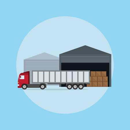 photo d'un camion devant l'entrepôt, le style plat illustration Vecteurs