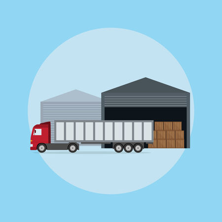 picture of a truck in front of the warehouse, flat style illustration Ilustração